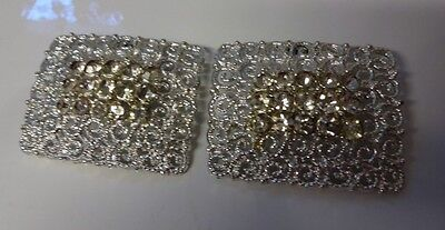 Antique Vintage Victorian Edwardian Filigree Clear Rhinestone Shoe Buckles Clip