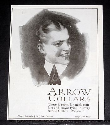 1919 Old Magazine Print Ad, Cluett Peabody Arrow Collars, Room For Neck Comfort!