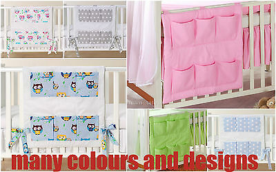 New Cot Bed Tidy Organiser For Cot 6 Pockets Toys Bags 100% Cotton