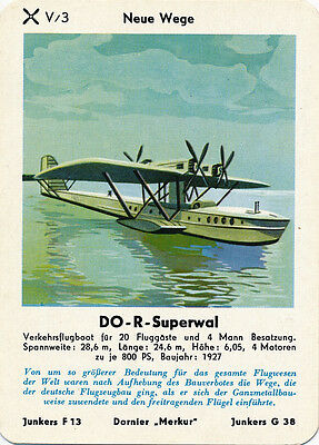 Single Vintage German Game Card: DO-R-Superwal. Flying Boat.