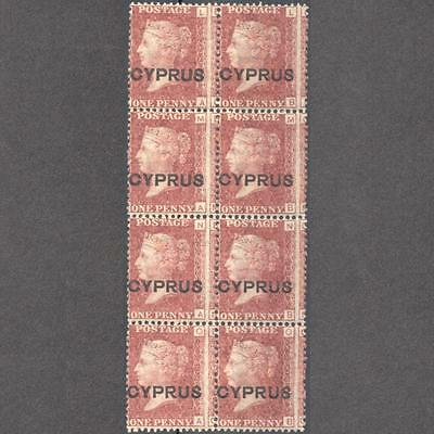 CYPRUS 1880 No.2 1d PLATE 216 MNH STAMPS IN VERTICAL BLOCK OF 8