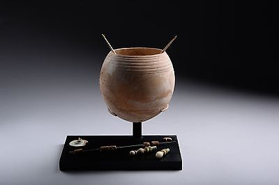 Rare Ancient Roman Ostrich Egg Wool Spinning Set - 100 AD