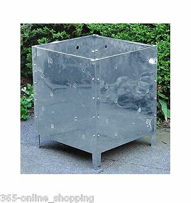 90L Galvanised Incinerator Square Fire Bin Garden Paper Rubbish Leaves Burner