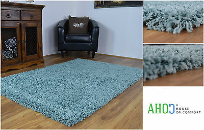 New Duck Egg Blue Modern Small X Large Shaggy Rugs Area Carpet Thick Soft Mats