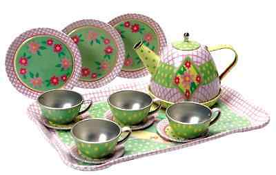 Children's Play Tin Tea Set Party Kids Metal Teapot Cups Pretend Girls Fun