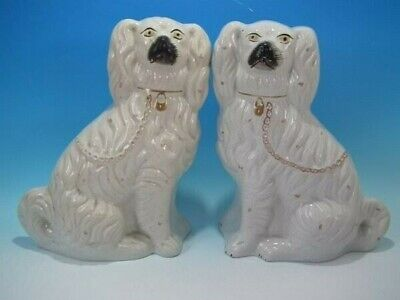 Large Pair Staffordshire Pottery Spaniels - White & Gilt