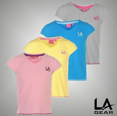 Girls LA Gear Logo Lightweight V Neck T Shirt Top Sizes Age from 7 to 13