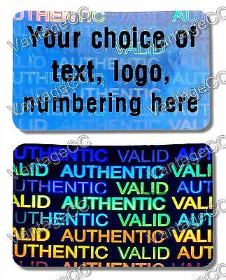 Large CUSTOM PRINTED Security Hologram Stickers, 30mm x 20mm, Warranty Labels