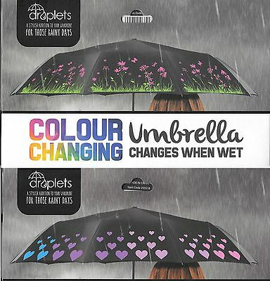 Compact Folding Colour Changing Umbrella When Wet, Heart n Flower design
