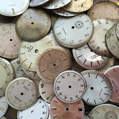 10 WATCH FACES Distressed Dials Steampunk Parts Gear Wheel vintage movements art