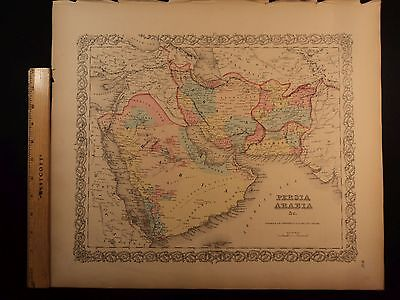 1855 1st COLTON Atlas Color Map PERSIA Saudi Arabia Iran Afghanistan 14x17in