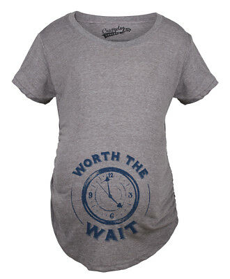 Maternity Worth The Wait Clock Funny Pregnancy Announcement T shirt