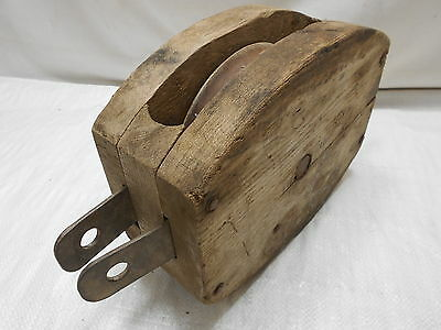 Vintage Wooden Ship's Pulley One Wooden Wheel Japanese Large #126