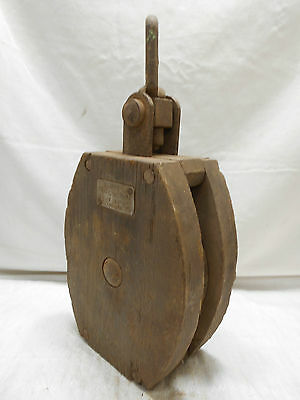 Vintage Wooden Ship's Pulley One Steel Wheel Japanese Large #133