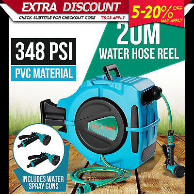 20M Retractable Water Hose Reel Auto Rewind Wall Mount Garden Tool + 2 Spray Gun