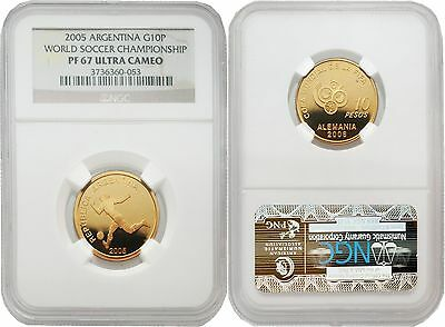 Argentina 2005 World Soccer Championship Gold NGC PF-67 ULTRA CAMEO