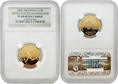 Argentina 2005 World Soccer Championship Gold NGC PF-68 ULTRA CAMEO