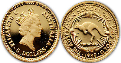 Australia 1989 Nugget 1/20 oz Gold Proof Coin