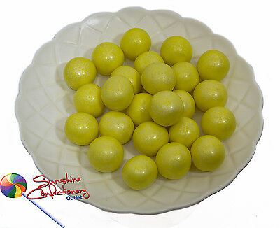 SHIMMER YELLOW GUMBALL CANDIES  -  22MM  -  500grams  -  Large Gumballs