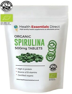 Organic Spirulina 500mg Tablets (Detox, Superior 65% + Protein) Choose Quantity