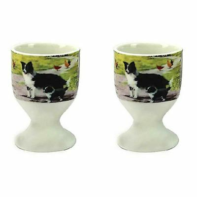 Leonardo Collie and Sheep Pair of Egg Cups Fine China Macneil Studio