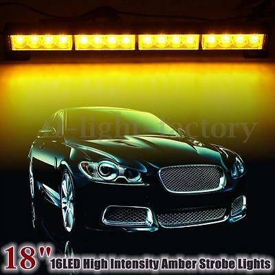 18'' 16 LED Yellow Emergency Strobe Flashing Roof Light Recovery Breakdown Lamp