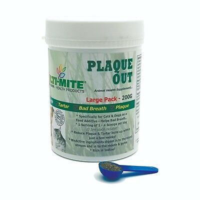 Plaque Off PLAQUE OUT Dogs and Cats - Bad Breath and Tartar Removal 200G Powder