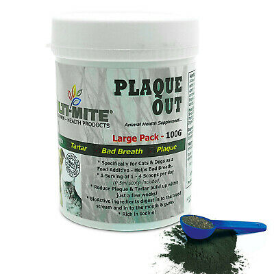 Plaque Off PLAQUE OUT  Dogs and Cats - Bad Breath and Tartar Removal 100G Powder