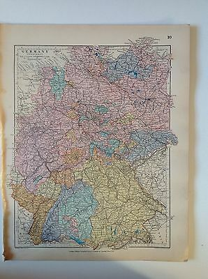 Stanford's Map Germany c1880 London Atlas Universal Geography Origina Rare