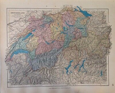 Stanford's Map Switzerland c1880 London Atlas Universal Geography Original Rare