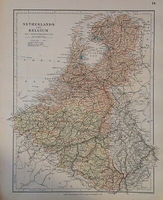 Netherlands Belgium c1880 Map Stanford's London Atlas Universal Geography Rare