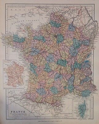 France c1880 Map Stanford's London Atlas Universal Geography Original Rare Old