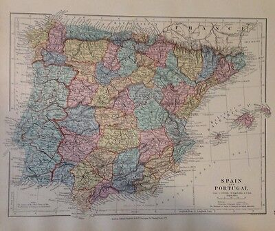 Spain Portugal c1880 Map Stanford's London Atlas Universal Geography Original