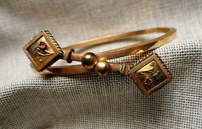 Antique Victorian Gold Filled Crossover Bracelet with Unusual Clasp