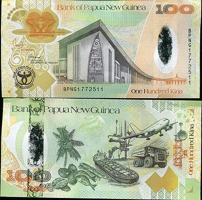 Papua New Guinea 100 Kina 2008 P 37 Hybrid Comm. 35Th Annivery Unc