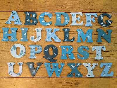 8cm WOODEN PAINTED ALPHABET LETTERS boys/ blues. Individually hand painted.