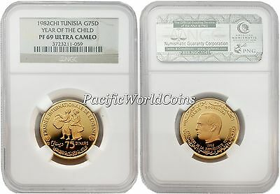 Tunisia 1982 Year of Child 75 Dinars Gold NGC PF-69 ULTRA CAMEO