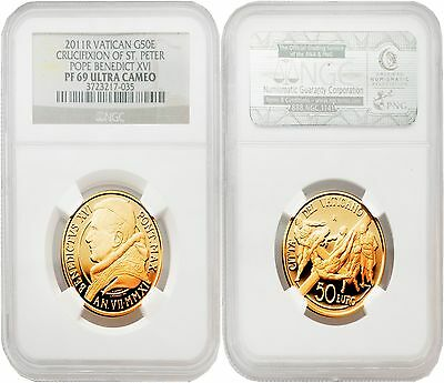 Vatican 2011R Crucifixion of St. Peter Pope Benedict XVI 50 Euro Gold NGC PF69