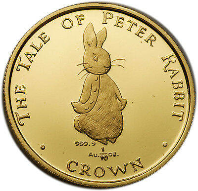 UK Gibraltar 1997 Tale of Peter Rabbit 1/10 oz Gold Proof Coin
