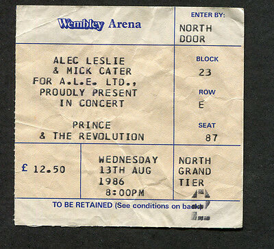 Original 1986 Prince concert ticket stub Wembley London Parade When Doves Fly