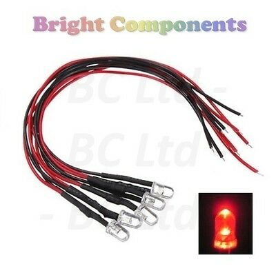 5x Candle/Flickering Pre-Wired Red LED 5mm : 9V ~ 12V : 1st CLASS POST