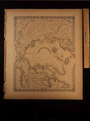 1855 1st COLTON Atlas Map of North Pole Greenland Canada Siberia Tartary 14x17in