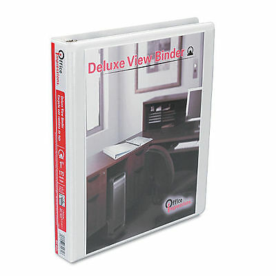 """Office Impressions Deluxe View Vinyl Binder, 3 Round Ring, 1"""" Capacity - White"""