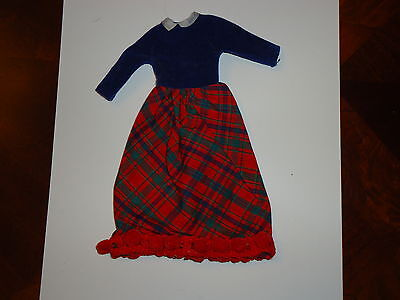Vintage Barbie Skipper Doll Plaid Long Dress, Blue, Red, Trim, Tagged 1963