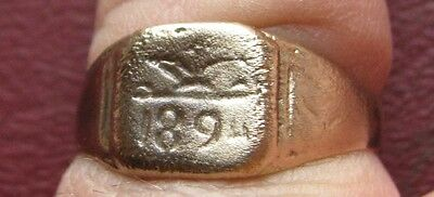 Antique Artifact   Bronze Finger Ring dated 1894 SZ: 9 3/4 US 19.5mm 14388 DR