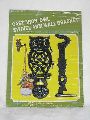 Vintage Cast Iron Owl Wall Bracket / Hanger With Swivel Arm New