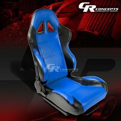 1 X Blue/black Pvc Leather Sports Racing Seats+Mounting Sliders Passenger Side