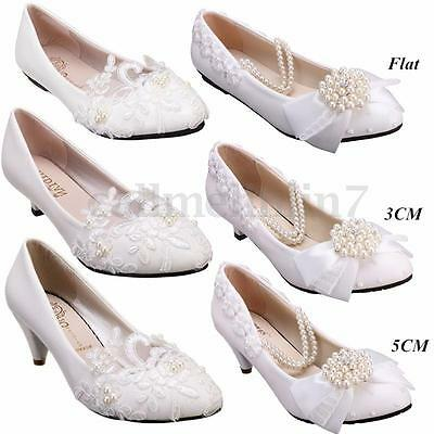 Bridal Bridesmaid Flower Wedding Lace Pearl Flat Low High Heels Party Shoes Size