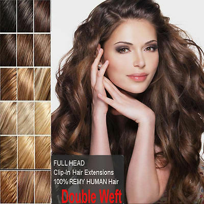 """16""""18""""20""""22""""24""""26""""30"""" 7Pcs Full Head Clip In Remy 100% Real Human Hair Extension"""