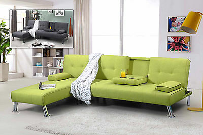 Modern 3 Seater Fabric L Shaped Corner Sofa Bed & Chaise Longue Grey Green